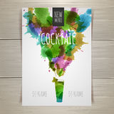 Watercolor cocktail poster Stock Photos