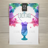 Watercolor cocktail poster Stock Images