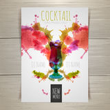 Watercolor cocktail poster Royalty Free Stock Photos