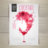 Watercolor cocktail poster stock illustration