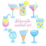 Watercolor cocktail set. Hand painted on white background Royalty Free Stock Image