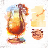 Watercolor cocktail tequila sunrise sketch. Royalty Free Stock Images