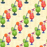 Watercolor cocktails seamless pattern. For menu or fashion print design. Royalty Free Stock Photo