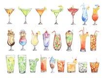 Watercolor cocktails set. vector illustration