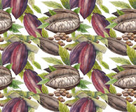 Watercolor cocoa fruit pattern. Watercolor cocoa fruit seamless pattern. Hand drawn exotic cacao plants stock illustration