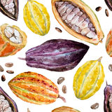 Watercolor cocoa pattern Royalty Free Stock Images