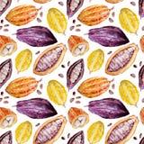 Watercolor cocoa pattern Stock Photo