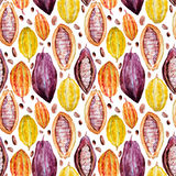 Watercolor cocoa pattern Stock Photography