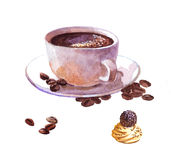 Watercolor coffee cup with cake isolated Royalty Free Stock Photography