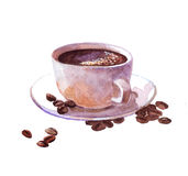 Watercolor coffee cup with cake isolated Stock Images