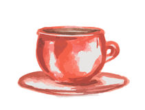 watercolor coffee cup. Royalty Free Stock Photo