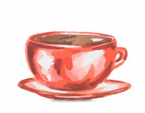 watercolor coffee cup. Royalty Free Stock Images