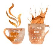 Watercolor coffee cups with type Stock Photos
