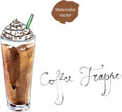 Watercolor coffee frappe Stock Image