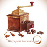 Watercolor coffee grinder with coffee beans. Over white Stock Photos