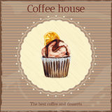 Watercolor coffee house advertisement with cupcake Stock Photos