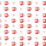 Watercolor Coffee mugs and hearts pattern. Isolated Illustration for design, print or background.  Royalty Free Stock Photos