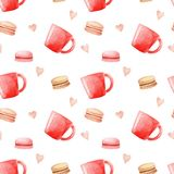 Watercolor Coffee mugs, macaroons and hearts pattern.  Illustration for design, print or background.  Royalty Free Stock Photography