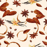 Watercolor coffee pattern with coffee beans and nuts Stock Images