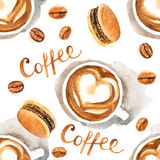 Watercolor coffee seamless Stock Images