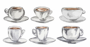 Watercolor coffee set. Vintage retro white coffee cups on white background Stock Photo