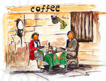 Watercolor coffee shop Stock Photography