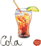 Watercolor cola with lime stock illustration