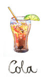 Watercolor cola with lime and tubule Stock Image