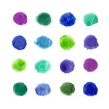 Watercolor cold palette 16 color circles. Watercolor vector big set. Cold colors circles on white background Stock Images