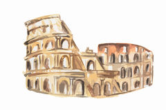 watercolor coliseum. Royalty Free Stock Images