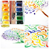 Watercolor collage - handmade ornament and trees Stock Photos