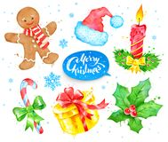 Watercolor collection with Christmas objects Stock Photos
