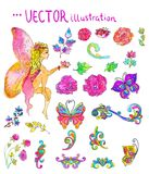Watercolor collection of color flowers and butterflies and fairy. Bright and beautiful elements over white Stock Photos