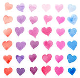 Watercolor collection of colorful hearts isolated on white - pink, red, purple, blue tints.