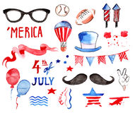 Watercolor Collection of Fourth of July Items Stock Images