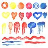 Watercolor collection of geometric shapes, spots, symbols and si. Gns. Set of an isolated image on a white background. Handmade drawing Royalty Free Stock Image