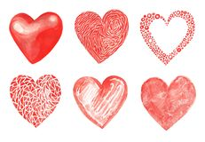 Watercolor collection of isolated illustration of a red heart sy. Mbol. Set of isolated image on white background. Hand drawing for Valentine`s Day. Modern Royalty Free Stock Image