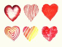Watercolor collection of isolated illustration of a red heart sy. Mbol. Set of isolated image on white background. Hand drawing for Valentine`s Day. Modern Stock Photo