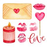 Watercolor collection with kiss lips, love letter and candle. Isolated girly design elements for invitations, wedding, stickers or. Greeting cards. Valentines Stock Images