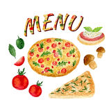 Watercolor collection of pizza set isolated. Italian ingredients set for menu Royalty Free Stock Photos