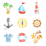 Watercolor Collection of Sea Vacation Elements Stock Photo