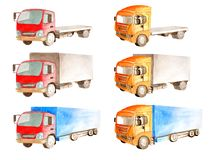 Watercolor a collection of trucks with a red and orange cabin, but different open and closed bodies royalty free illustration