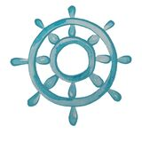Watercolor color clip art from the marine steering wheel .