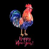 Watercolor color fire cock on black background with red text Hap. Py New Year!. Chinese calendar Zodiac for 2017 New Year of rooster. Isolated bird and text in Royalty Free Stock Photos