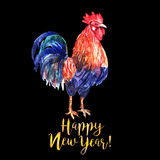 Watercolor color fire cock on black background with yellow text. Happy New Year!. Chinese calendar Zodiac for 2017 New Year of rooster. Isolated bird and text Royalty Free Stock Photography