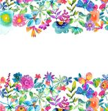 Watercolor color flowers, leaves and butterfly. Bright and beautiful background isolated over white Stock Photo