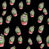 Cacti color print. Watercolor color print vase print Royalty Free Stock Images