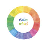 Watercolor color wheel. Hand painted on white background Royalty Free Stock Photos
