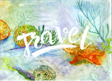 Watercolor colored background with the words travel. Freehand drawing watercolor abstraction Stock Photo