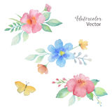 Watercolor colored bouquets of flowers. Stock Photo